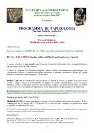Programma con Bibliografia generale e letture facoltative consigliate
