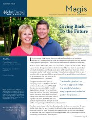 Giving Back — To the Future - John Carroll University