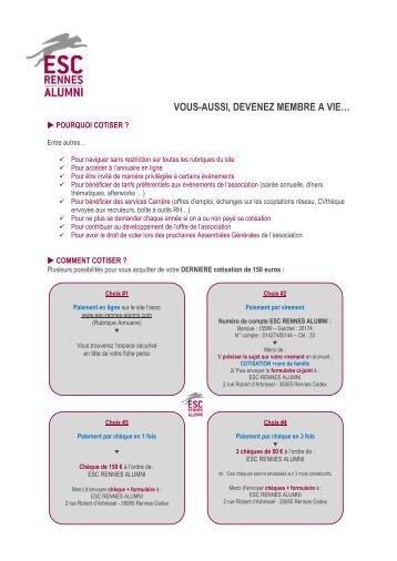 VOUS-AUSSI, DEVENEZ MEMBRE A VIE… - ESC Rennes Alumni