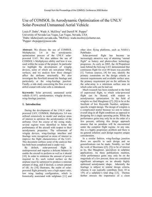 Use of COMSOL In Aerodynamic Optimization of the ... - COMSOL.com