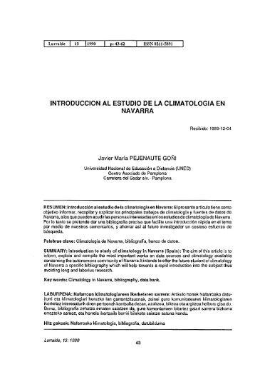 Introduccion al estudio de la climatologia en Navarra ... - ingeba