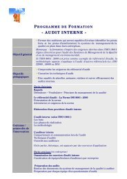 programme de formation « audit interne