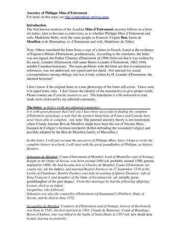 Ancestry of Philippe Mius d'Entremont ... - Lagenealogy.net