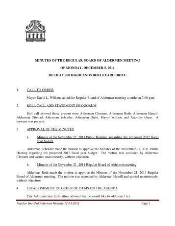 minutes of the regular board of aldermen meeting - City of Manchester