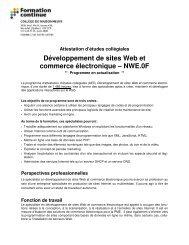 Développement de sites Web et commerce électronique – NWE.0F