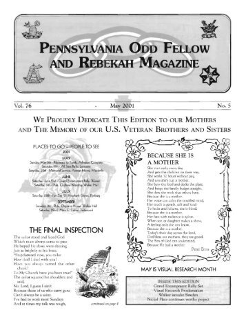 May - Grand Lodge of Pennsylvania, Independent Order of Odd ...