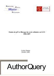 Etude de p53 et blocage du cycle cellulaire