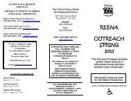 REENA OUTREACH SPRING 2013