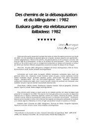 Des chemins de la débasquisation et du bilinguisme : 1982 ...
