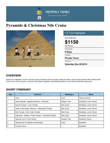 Pyramids & Christmas Nile Cruise - Memphis Tours Egypt