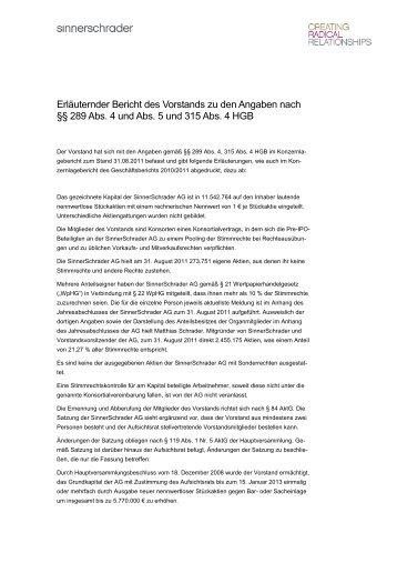 Erläuternder Bericht des Vorstands zu den Angaben nach §§ 289 ...