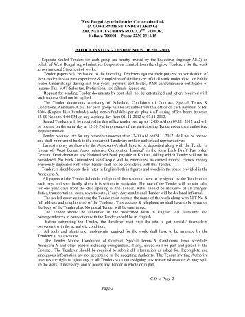 Tender_Notice_NIT39 - West Bengal Agro Industries Corporation Ltd.