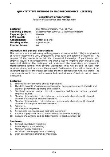 Quantitative Methods in Macroeconomics - Faculty of Economics ...
