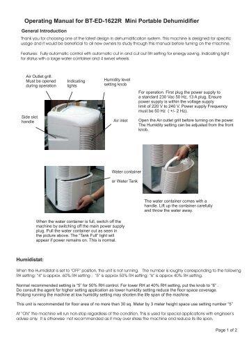 Operating Manual for BT-ED-1622R Mini Portable Dehumidifier