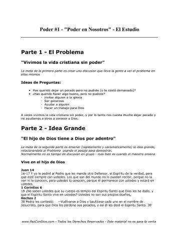 Poder 1 - Estudio - PazConDios