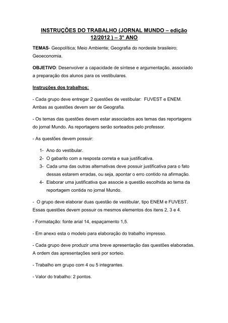 Instruções do trabalho Jornal Mundo - Associação Palotina
