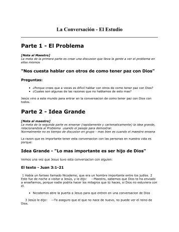 La Conversacion - Estudio - PazConDios