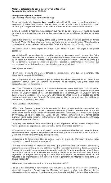 Fuente: La Voz del Interior 25/08/01 - Winisisonline.com.ar