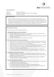 Job Description Job title: Marketing Manager Based in ... - euNetworks