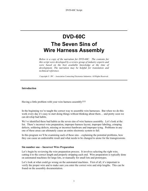 Dvd-60c The Seven Sins Of Wire Harness Assembly