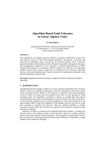 Algorithm-Based Fault Tolerance in Linear Algebra ... - kik - Koszalin