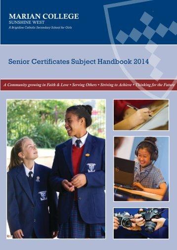 Senior Subject Certificates Handbook 2014.pdf - marian college