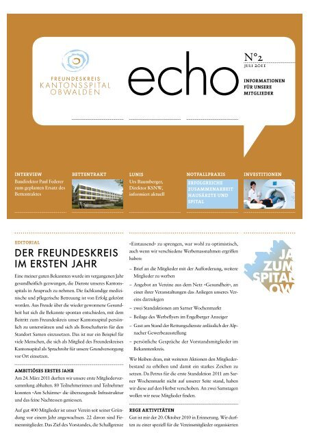 'echo' Ausgabe 2-2011 - Kantonsspital Obwalden