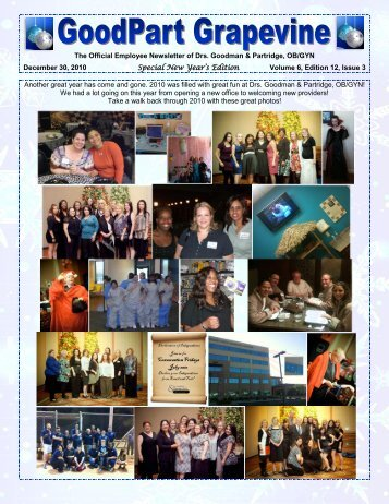 The Official Employee Newsletter of Drs. Goodman & Partridge, OB ...