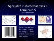 Présentation de la Spécialité « Mathématiques » Terminale S Lycée ...