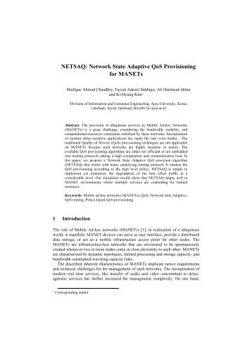 NETSAQ: Network State Adaptive QoS Provisioning for ... - APNOMS