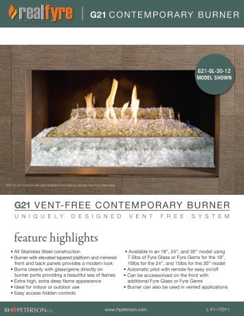 G21 Vent-Free Contemporary Burner - RH Peterson Co.