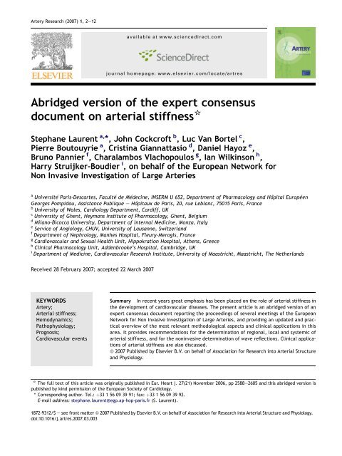Abridged version of the expert consensus document on arterial ...