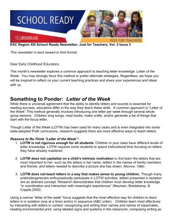 Just for Teachers, Vol 2, Issue 3-Letter of the Week - Region 13