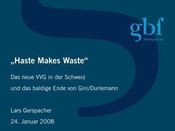 Das neue VVG - gbf Legal