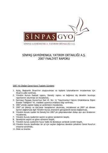 sinpaş gayrimenkul yatırım ortaklığı a.ş. 2007 faaliyet ... - Sinpaş GYO