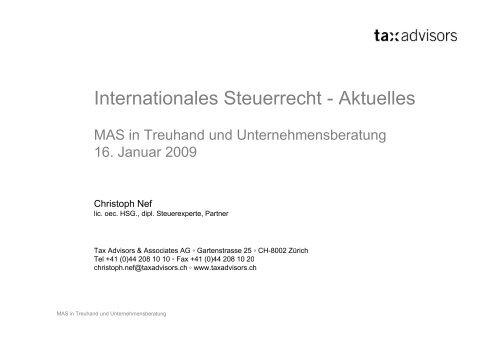Internationales Steuerrecht - Steuerberatungskanzlei