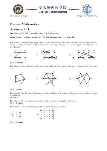 Discrete Mathematics Assignment 11