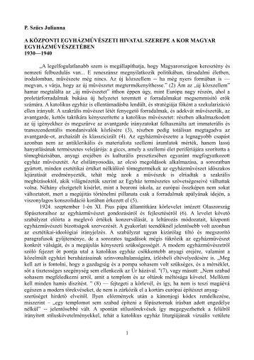 P. Szűcs Julianna A KÖZPONTI EGYHÁZMŰVÉSZETI HIVATAL ...