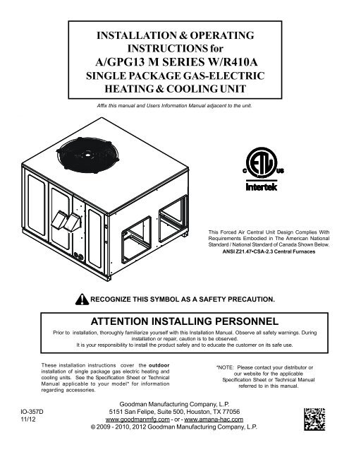 A/GPG13 M SERIES W/R410A - Alpine Home Air Products