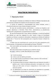 BOLETIM DE FREQUÊNCIA - Reitoria - Unipampa