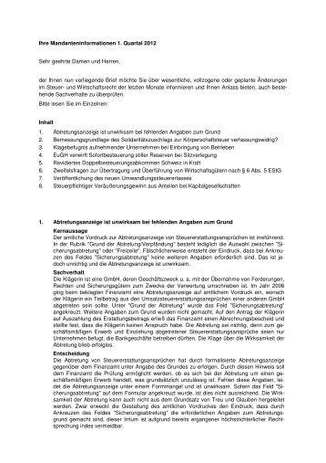 Mandanteninformationen 1. Quartal 2012
