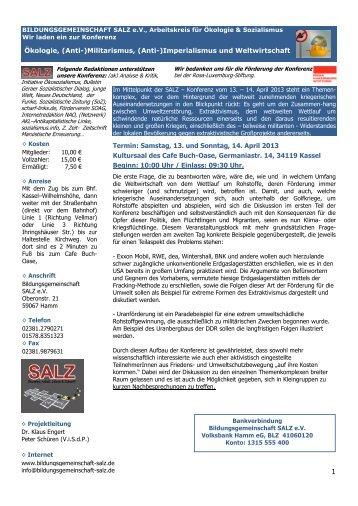 Einladung SALZ - Konferenz - Bildungsgemeinschaft SALZ