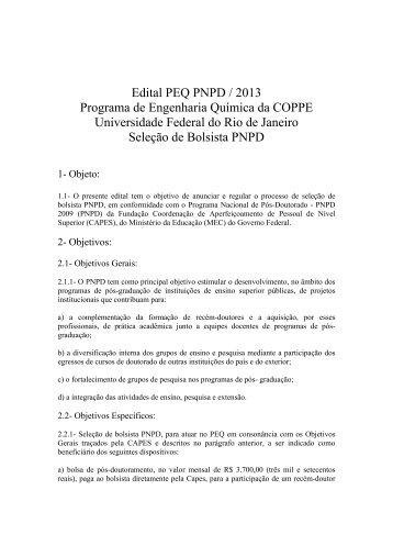 Edital PEQ PNPD / 2013 Programa de ... - peq / coppe / ufrj