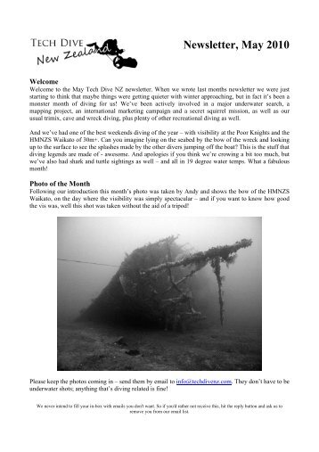 Newsletter, May 2010 - Tech Dive NZ