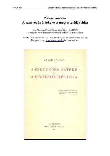 Zakar András - Pázmány Péter Elektronikus Könyvtár