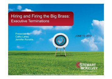 Hiring and Firing the Big Brass: - Stewart McKelvey