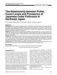 The Relationship between Pollen Count Levels and Prevalence of ...
