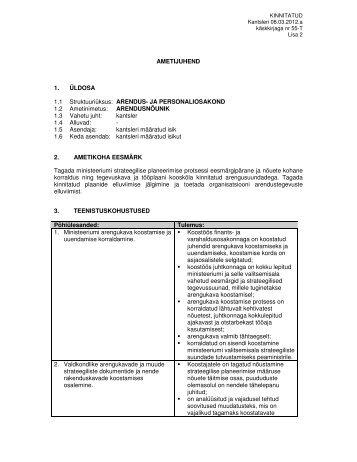 AMETIJUHEND 1. ÜLDOSA 1.1 Struktuuriüksus: ARENDUS- JA ...