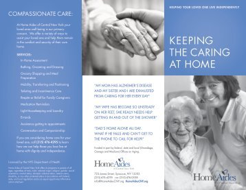 KEEPING THE CARING AT HOME - Home Aides of CNY