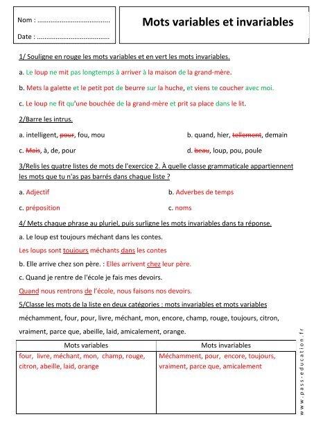 Mots Variables Et Invariables Pass Education